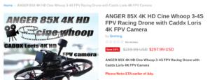 ANGER 85X 4K ドローン Cine Whoop 販売開始