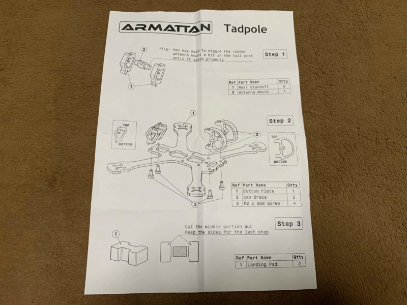 ARMATTANの2.5インチフレームTadpole 説明書